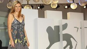 Susanna Nicchiarelli, directora de la película 'Miss Marx', este sábado en el Festival de Venecia.