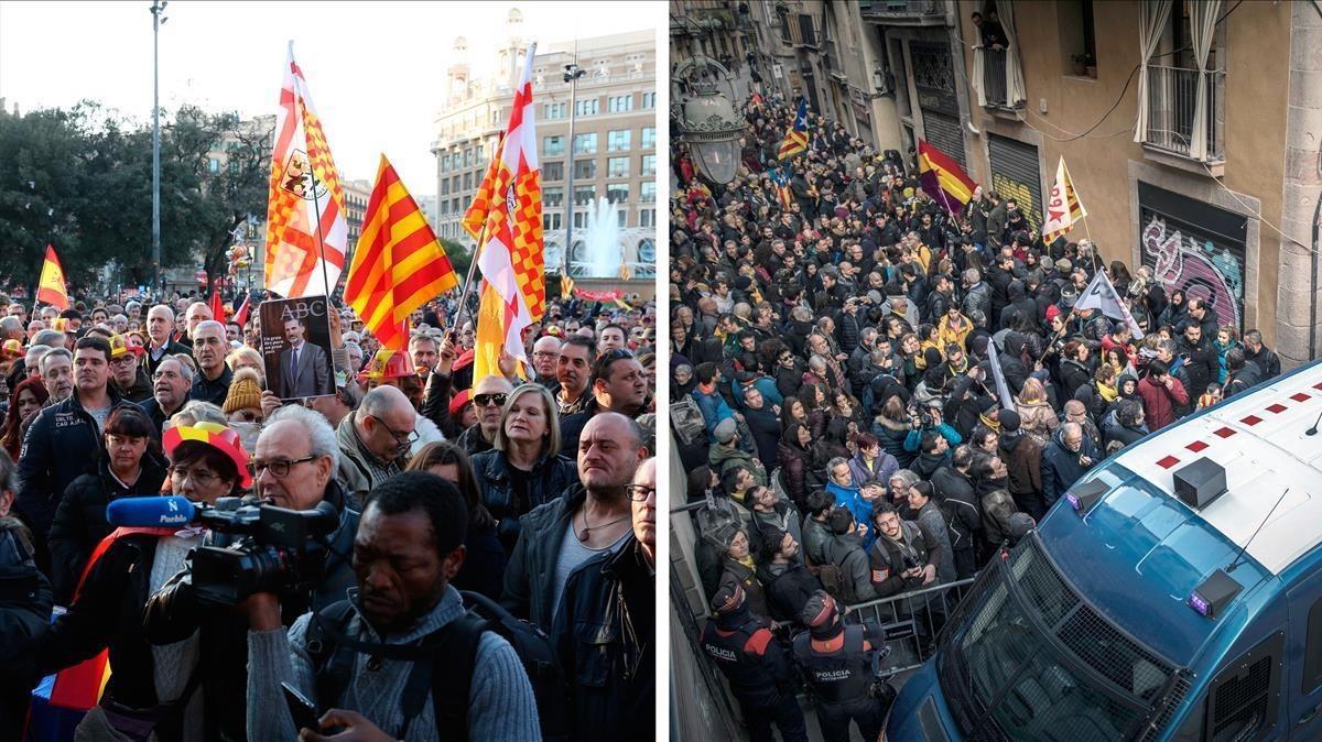 Manifestantes en Barcelona por la visita del Rey