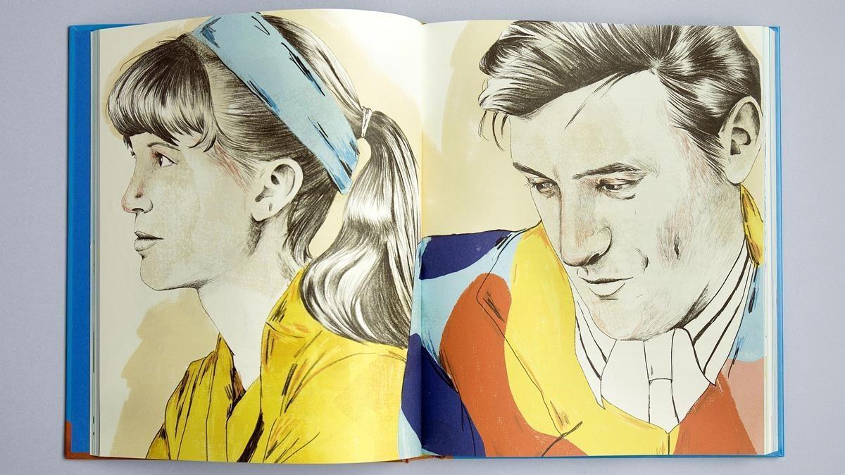 Ilustración de Sylvia Plath y Ted Hughes.