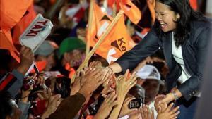 Keiko Fujimori, candidata a la presidencia de Perú, en el mitin de cierre de campaña en Lima.