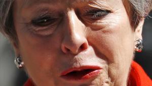 Theresa May, afligida tras anunciar que dejará su cargo el 7 de junio.