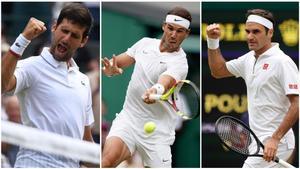Djokovic, Nadal y Federer, en esta edición de Wimbledon.