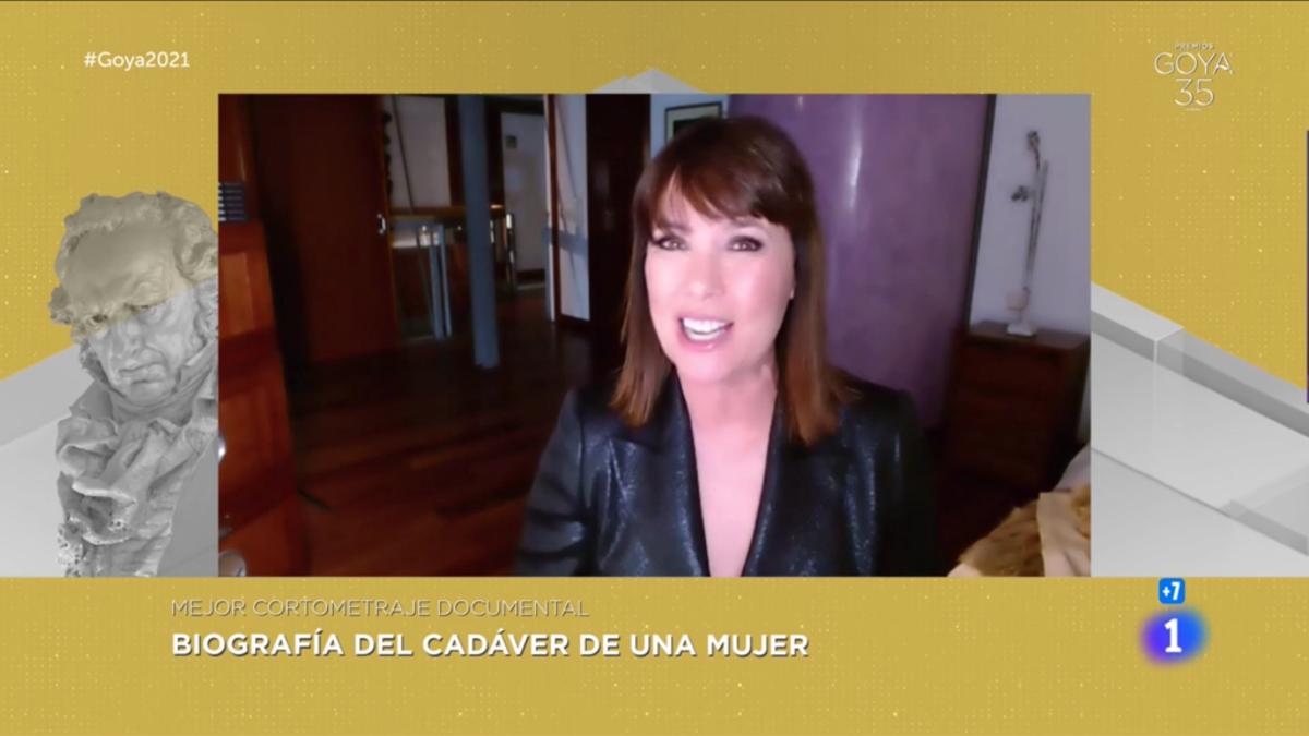 Mabel Lozano en su discurso de agradecimiento tras ganar el Premio Goya al mejor Corto Documental.