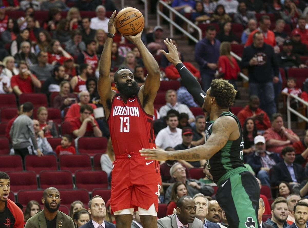 Dec 27  2018  Houston  TX  USA  Houston Rockets guard James Harden  13  shoots the ball over Boston Celtics guard Marcus Smart  36  during the third quarter at Toyota Center  Mandatory Credit  Troy Taormina-USA TODAY Sports