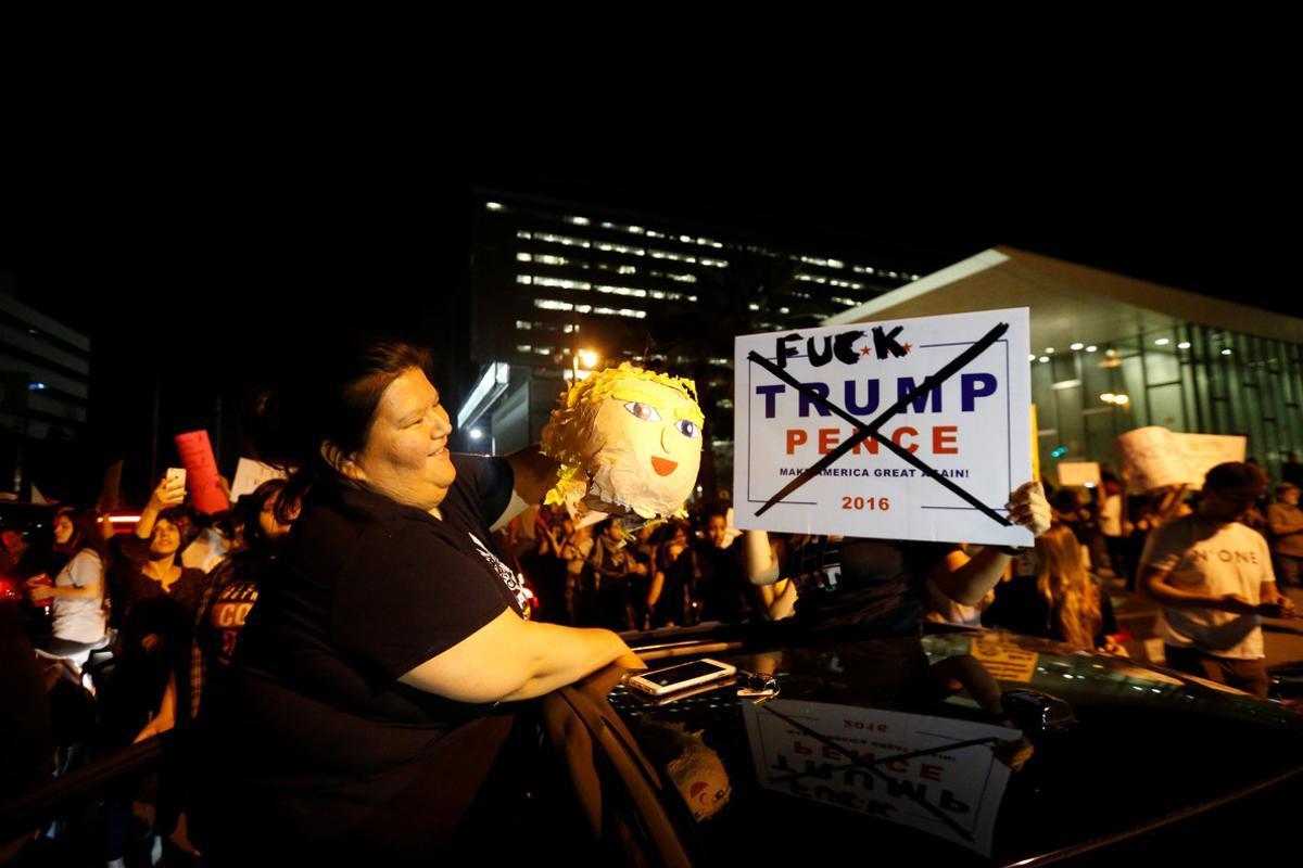 Manifestación contra Trump en Los Ángeles.