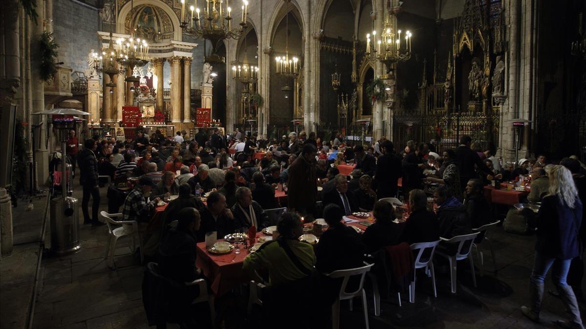 Anterior celebración de la comida navideña de Sant Egidio en Barcelona.