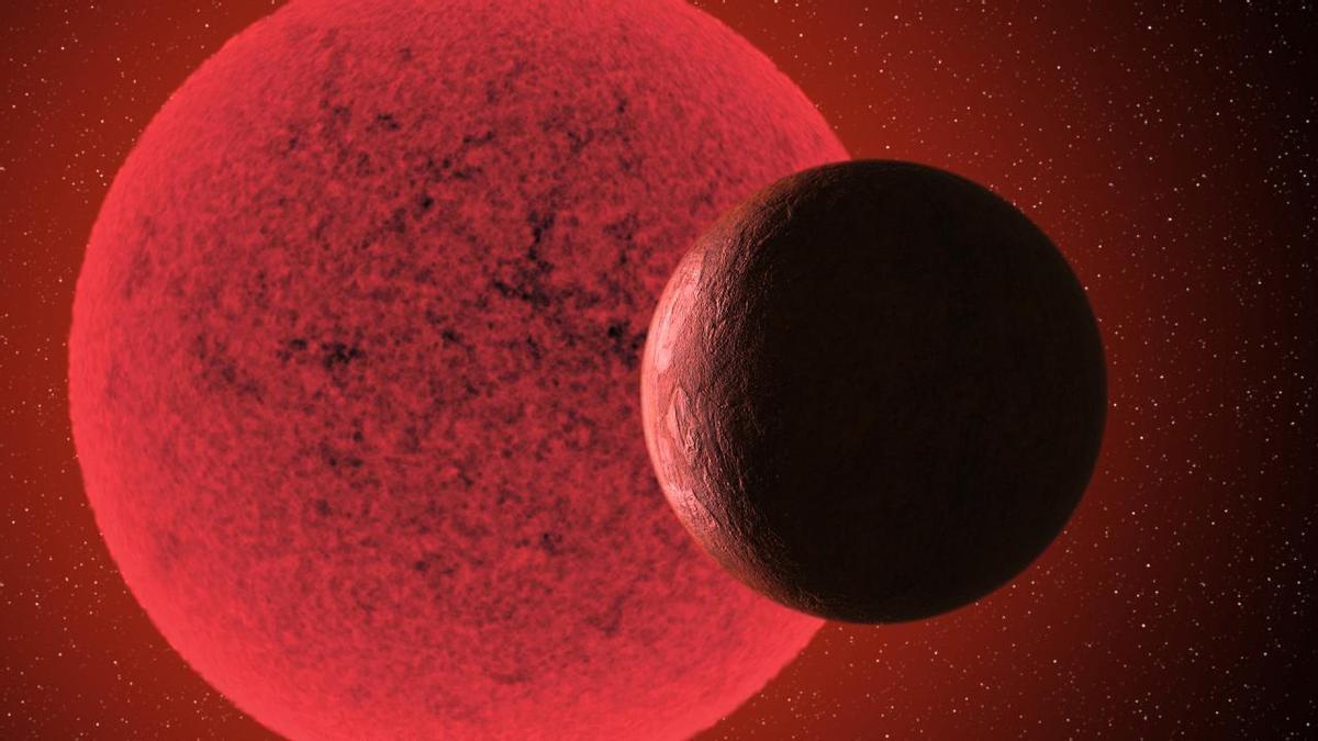 Recreación artística de la supertierra hallada orbitando la estrella enana GJ 740.