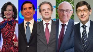 Los presidentes del Santander, Ana Botín; BBVA, Carlos Torres Vila; CaixaBank, Jordi Gual; Sabadell, Josep Oliú; y Bankia, José Ignacio Goirigolzarri.