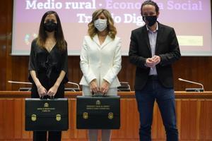La vicepresidenta tercera y ministra de Trabajo, Yolanda Díaz; la ministra de Derechos Sociales y Agenda 2030, Ione Belarra, y el exlíder de Podemos, Pablo Iglesias
