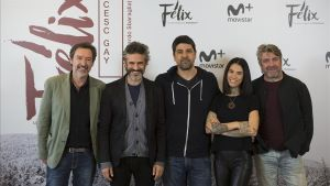Deizquierda a derecha,Ginés García Millan, Leonardo Sbaraglia, Cesc Gay, Mi Hoa Lee y Pere Arquillué, en la presentación de 'Félix'.