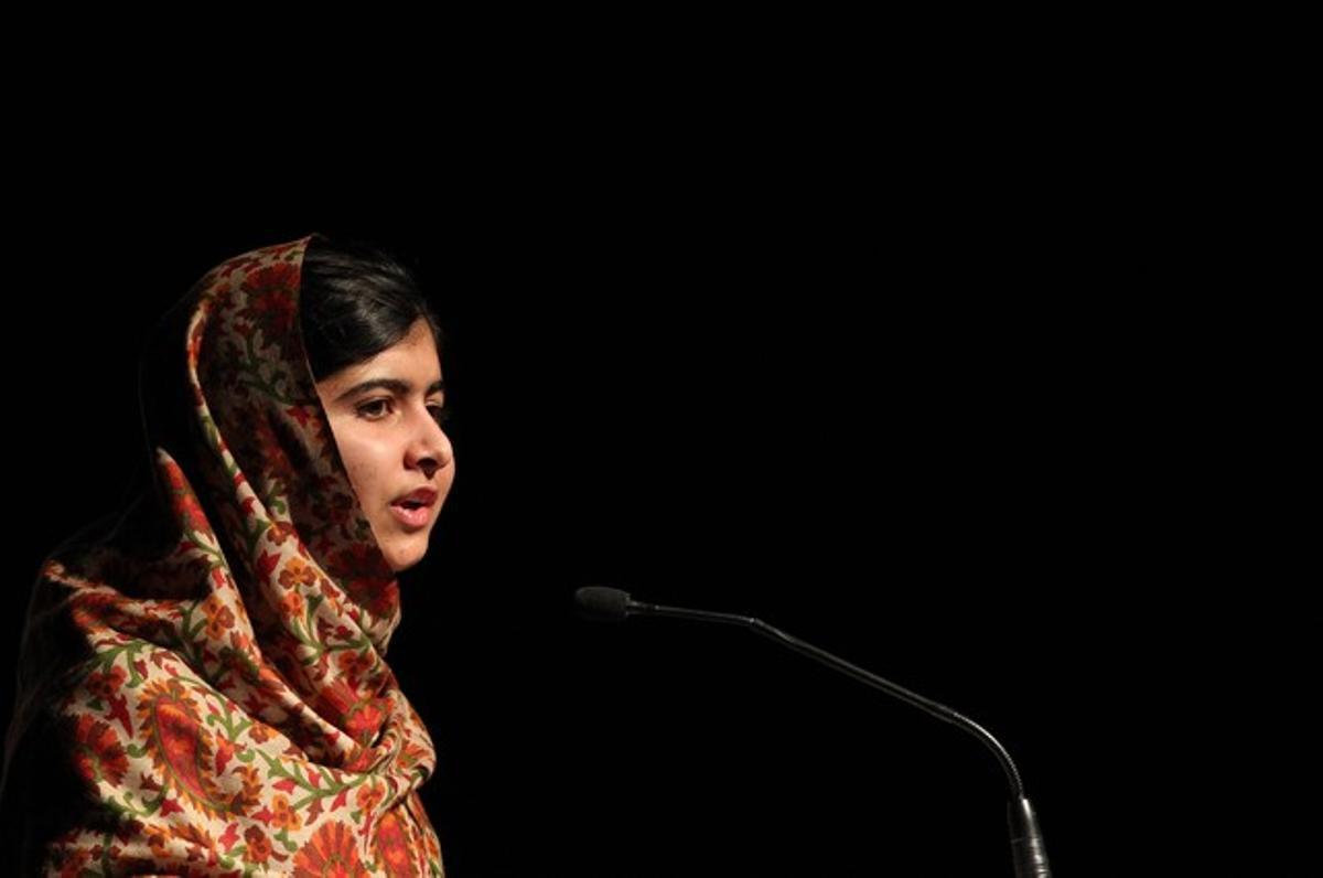 Malala, durante un discurso tras recibir un galardón de Amnistía Internacional, el pasado 17 de septiembre en Dublín.