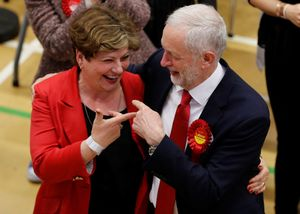 Jeremy Corbyn, leader of Britain's opposition Labour Party, and Labour Party candidate Emily Thornberry gesture at a counting centre for Britain's general election in London, June 9, 2017. REUTERS/Darren Staples