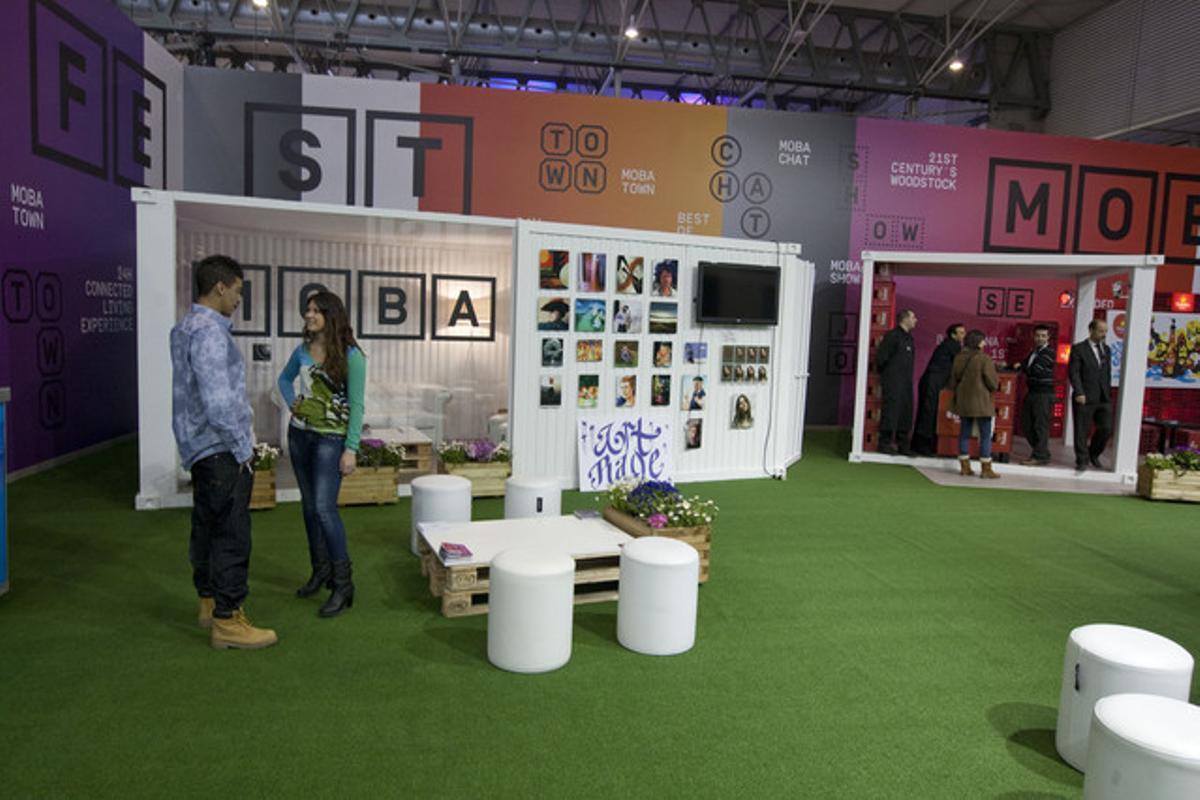Estand del festival MoBa en el Mobile World Congress de Barcelona, este jueves.