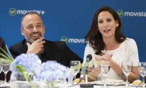 Javier Gutiérrez y Malena Alterio, en la presentación de la serie de Movistar + 'Vergüenza', de laque son protagonistas.