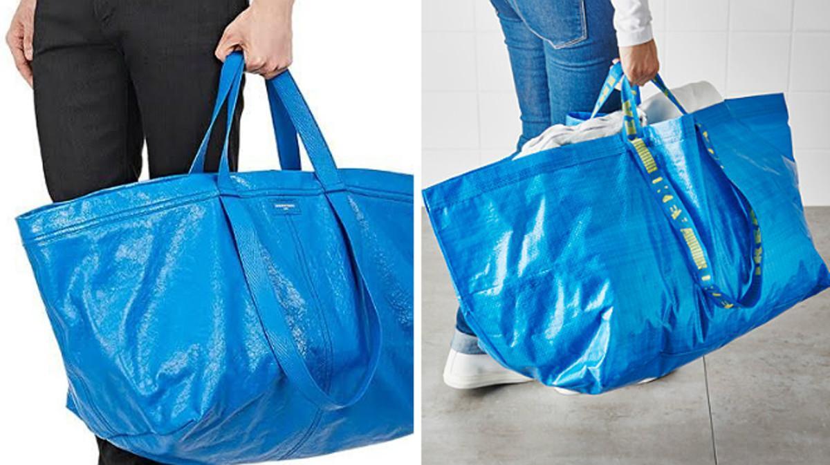 A la izquierda, un modelo con el bolso de Balenciaga. Al lado, la Frakta de Ikea.