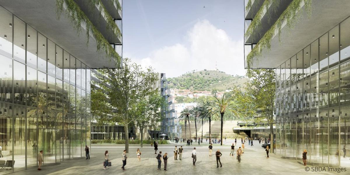 Recreación de la futura Plaza Cívica del Pla Porta BCN, que se abrirá al barrio y ganará en accesibilidad