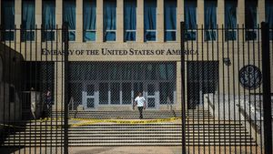 US embassy in Havana. Diplomats who sustained mysterious brain injuries while stationed in Cuba experienced a cluster of symptoms  including anxiety  mental fog and dizziness  that is more complex than previously reported  scientists said  Photo by YAMIL LAGE   AFP