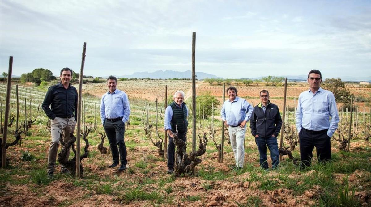 Los promotores de Corpinnat: Pere Llopart (Llopart), Marcel Sabaté (Sabaté i Coca), Xavier Gramona (Gramona), Paco de la Rosa (Torelló), Ton Mata (Recaredo) y Xavier Nadal (Nadal).