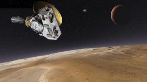Simulación de la sonda New Horizons en las cercanías de Plutón.
