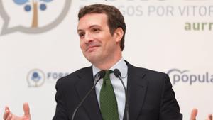 Pablo Casado, el pasado martes en un acto en Vitoria.