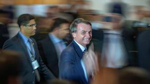 El presidente de Brasil, Jair Bolsonaro, en la toma de posesión del ministro de Defensa, el 2 de mayo del 2019.