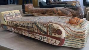 Uno de los sarcófagos hallados en Saqqara.