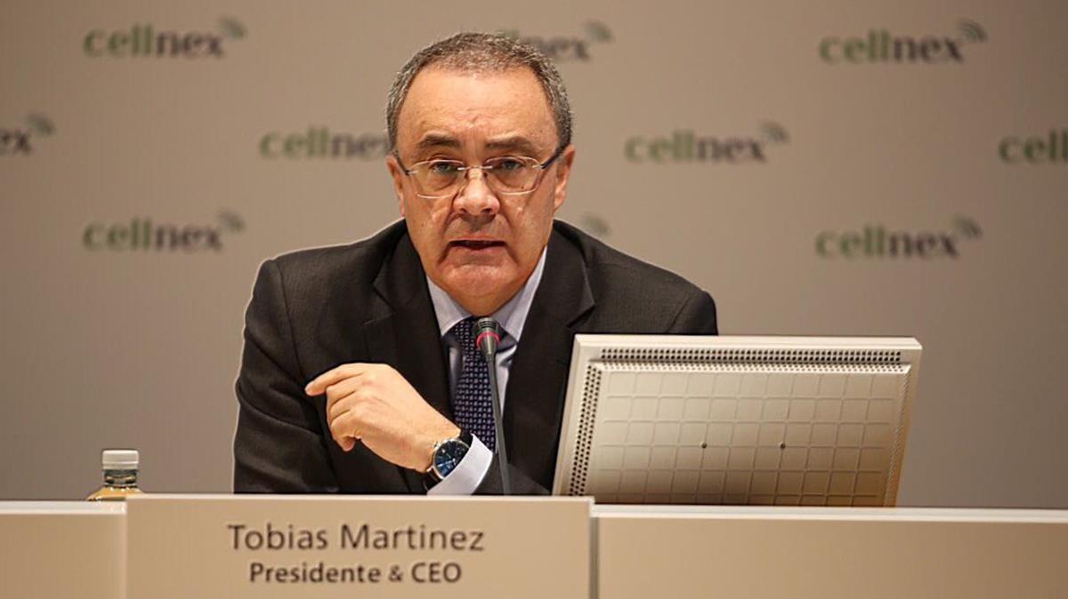 El presidente de Cellnex,Tobías Martínez, en la presentación de resultados del ejercicio del 2017.