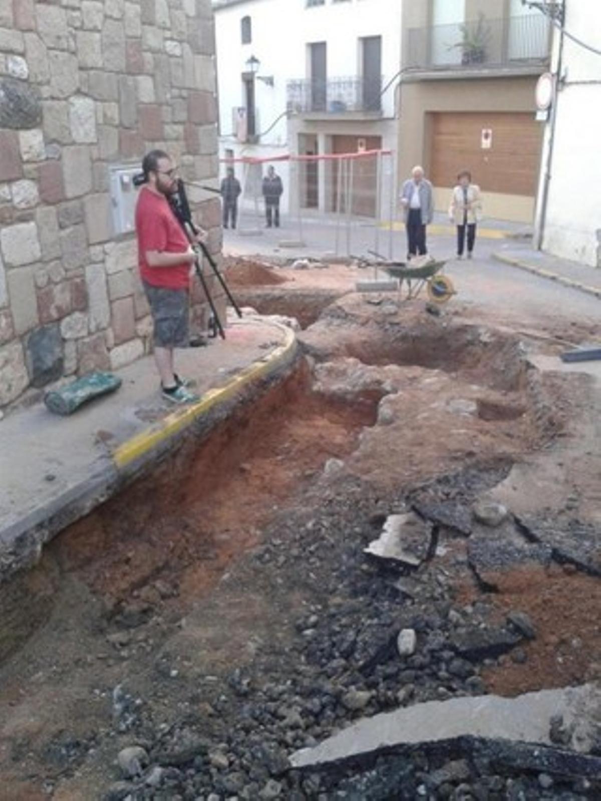 Restos del antiguo castillo de Olesa encontrados este miércoles.
