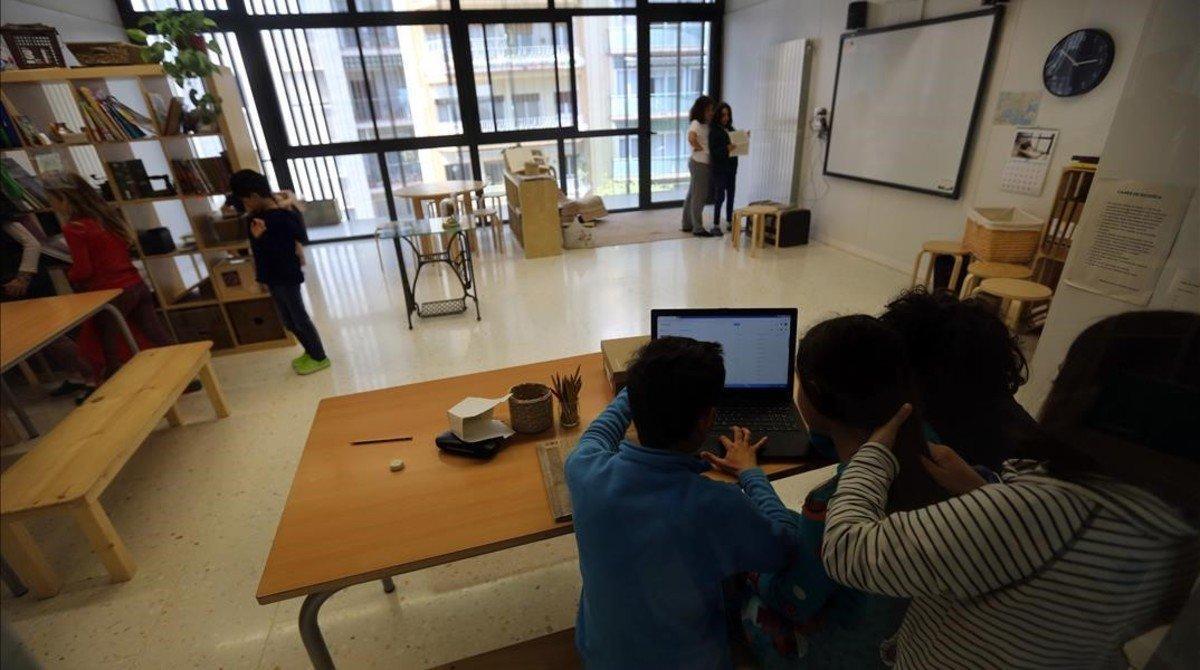 Un aula de la escuela Els Encants de Barcelona.