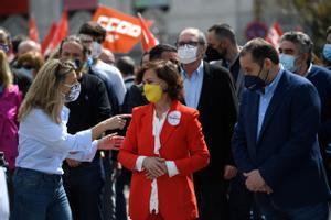 Desplegament del Govern en la manifestació de l'1 de maig