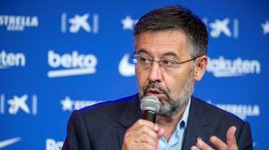 Josep Maria Bartomeu, en la presentación de Ronald Koeman como entrenador.