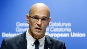 Raül Romeva durante una intervención en Bruselas.