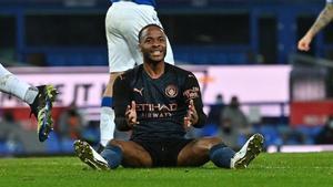 Sterling, en un momento del partido contra el Everton.