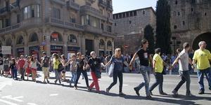 Manifestación de funcionarios de Justicia en la Via Laietana frente a Governació, en el 2013.