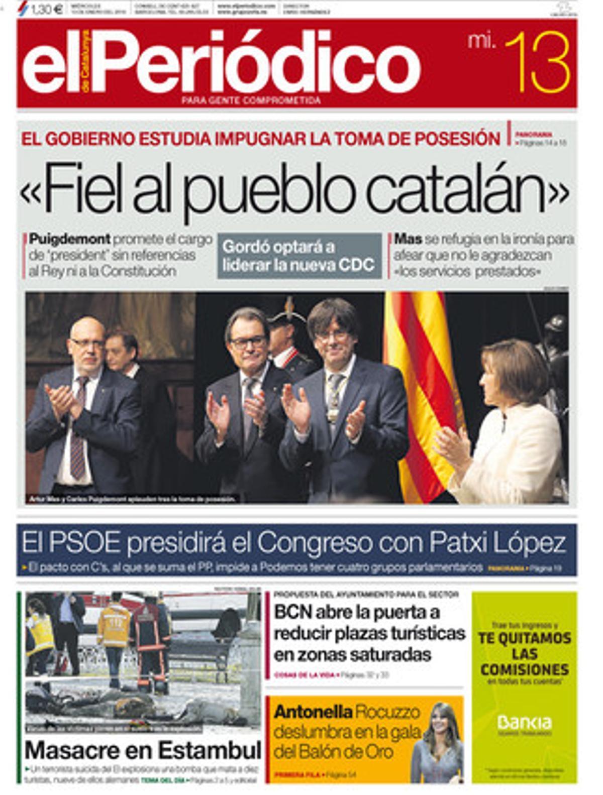 Portada de la edición de EL PERIÓDICO DE CATALUNYA del 13 de enero.