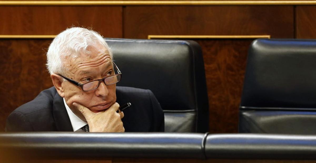 El ministro de Exteriores, José Manuel García-Margallo, en el Congreso.
