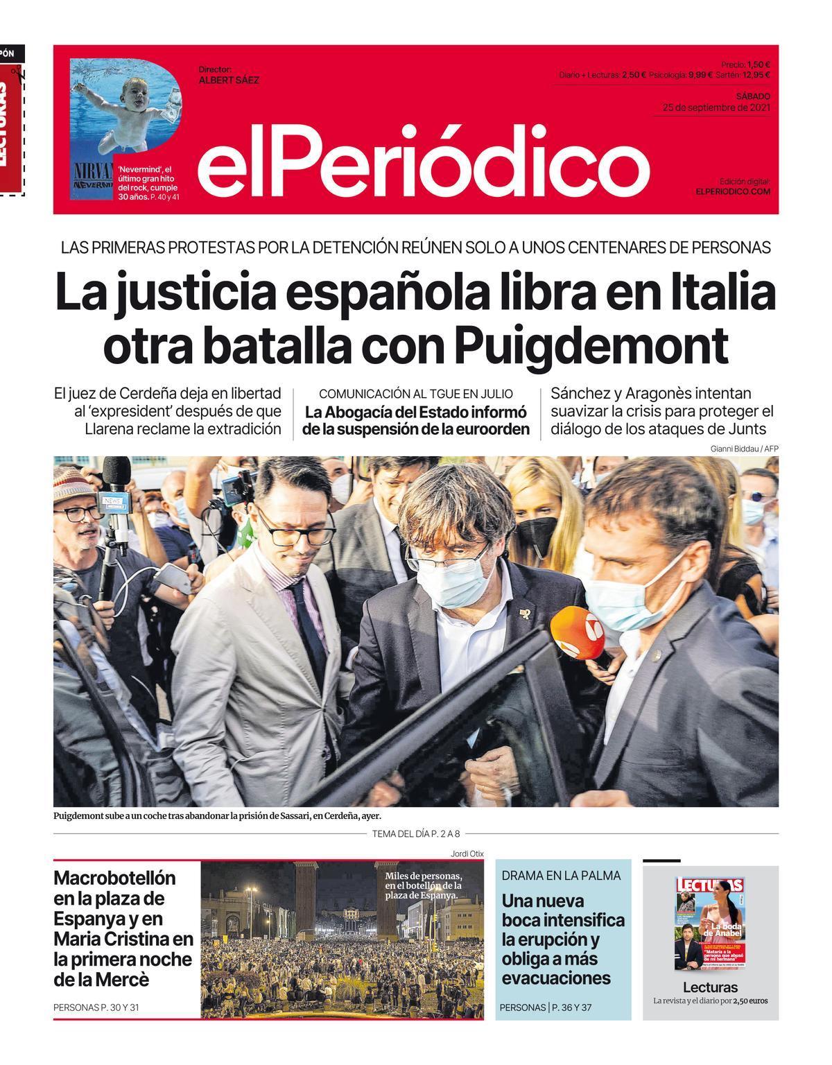 La portada de EL PERIÓDICO del 25 de septiembre del 2021