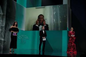 Adam Nourou, en el momento de su anuncio como ganador del Goya a Mejor Actor Revelación.
