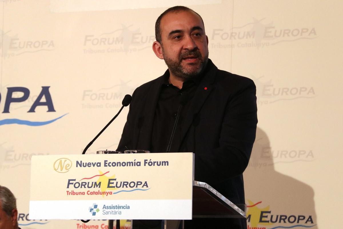 El secretario general de CCOO de Catalunya, Javier Pacheco, durante su intervención en el Fòrum Europa.