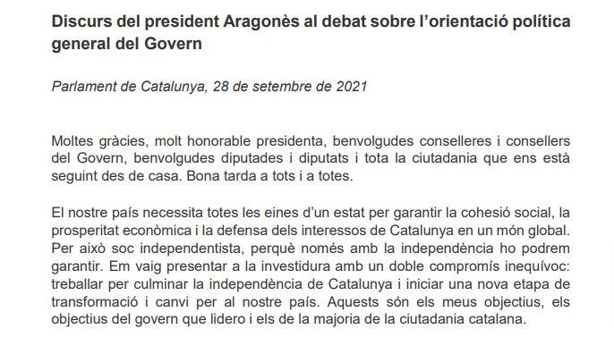 Discurso de Pere Aragonès en el debate de política general de 2021