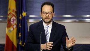 El portavoz parlamentario del PSOE, Antonio Hernando, el pasado 31 de enero.