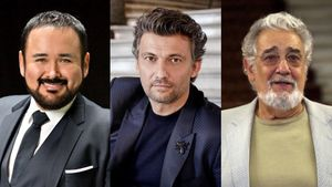 Tres tenores en Peralada, de izquierda a derecha,Javier Camarena, Jonas Kaufmanny Plácido Domingo.