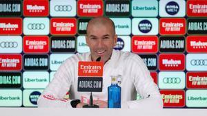 Zinedine Zidane, entrenador del Real Madrid, en rueda de prensa.
