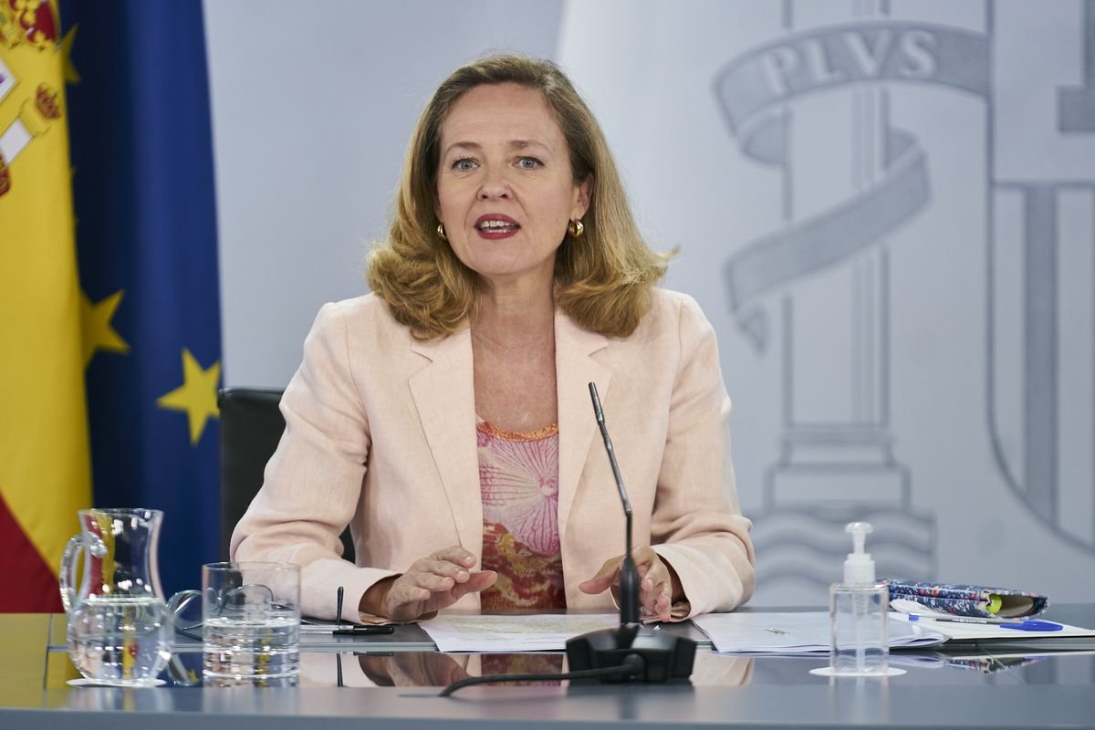 La vicepresidenta segunda, Nadia Calviño, en la rueda de prensa posterior al Consejo de Ministros.