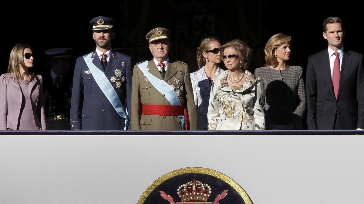 La famliia real española, en el desfile militar de la HIspanidad del 2009