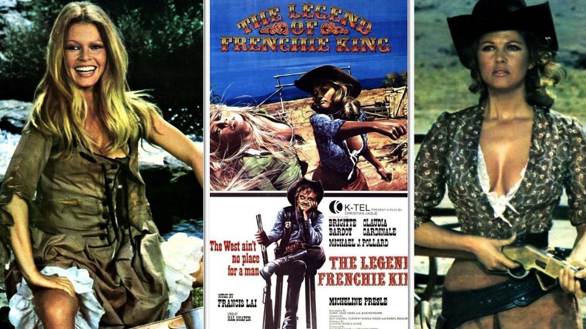 Brigitte Bardot y Claudia Cardinale, en 'Las petroleras', con el cartel inglés de la película en el centro.