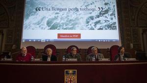 Presentación del manifiesto del Grup Koiné, el pasado 31 de marzo, en el paraninfo de la UB.