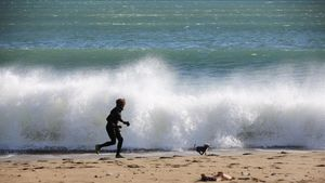 Una mujer paseando con su perro en la playa de la Barceloneta.