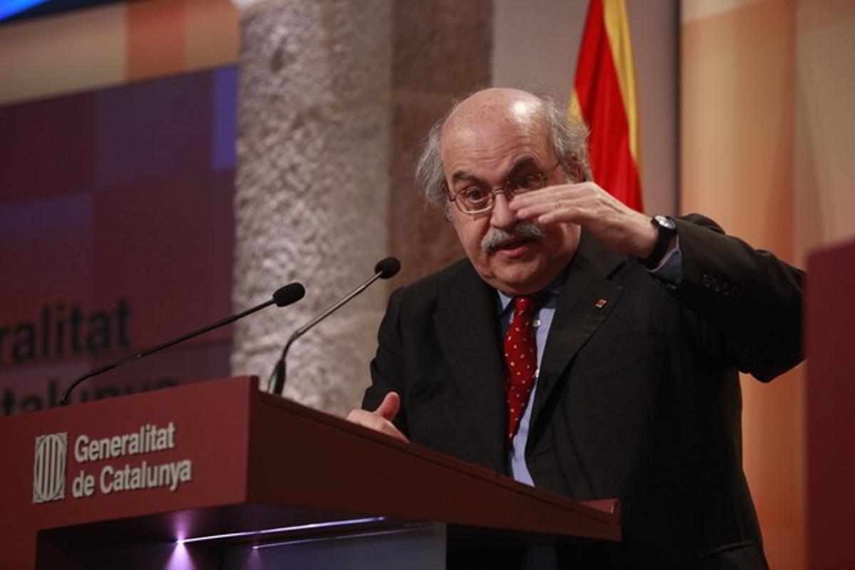 Andreu Mas-Colell, en la rueda de prensa.