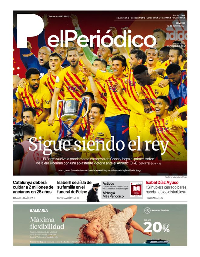 La portada de EL PERIÓDICO del 18 de abril de 2021.